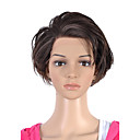 Hand Tied Style Lace Front Short Top Grade Quality Synthetic Brown Straight Hair Wig
