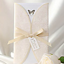 Elegant Ivory Butterfly Print Tri-fold Wedding Invitation (Set of 50)