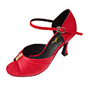Non Customizable Women's Dance Shoes Latin/Salsa/Performance Satin Stiletto Heel Black/Red/Gold