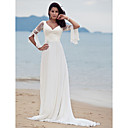 Lan Ting Sheath/Column Plus Sizes Wedding Dress - Ivory Sweep/Brush Train V-neck Chiffon