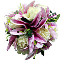 Satin Purple Lily & White Rose Bridal Bouquet