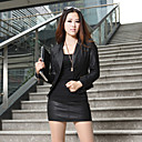 Collarless Long Sleeve Artificial Leather Evening/Office/Casual Jacket With Buttons/Pockets