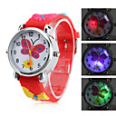 Children's Butterfly Style Silicone Analog Quartz Wrist Watch with Flashing LED Light (Red)