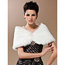 Faux Fur Special Occasion/Wedding Shawl In Ivory With Pearl Front Closure