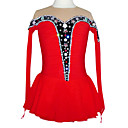 Colorful Artificial Crystal Long Sleeve Graceful Ice Skating Dress