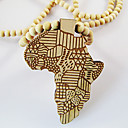 Map of Africa Pattern Wooden Necklace