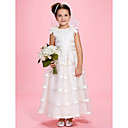 A-line/Princess Ankle-length Flower Girl Dress - Satin/Organza