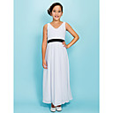 Ankle-length Chiffon Junior Bridesmaid Dress - White Sheath/Column V-neck