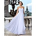スレンダーライン ウェディングドレス ホワイト シフォン ハートカット フロア 丈 大きいサイズ
