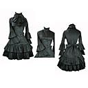 긴 소매 무릎 길이 블랙 새틴 귀족 로리타 드레스