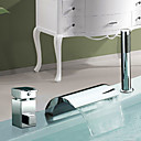 Bathtub Faucet - Contemporary - Handshower Included / Waterfall / Sidespray - Stainless Steel (Chrome)