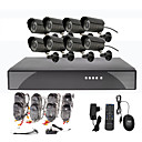 8CH CCTV DVR Kit For Home Security (8 Outdoor vandtæt kamera)