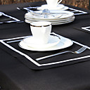 Black / Off-white Linen Rectangular Placemats