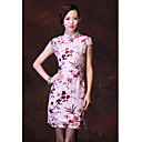 Women's Floral Pink Dress , Vintage/Print Stand Short Sleeve