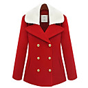 Dames Fleece Collar Trench Coat