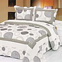 3-Piece White Circle Washed Cotton Quilt Set