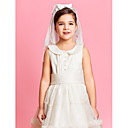 Two-tier Shoulder Wedding Flower Girl Veil With Lace/Satin Bow