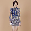 ZHI YUAN Slim Stand Collar High Waist Lace PU Leather Sheath Dress(More Colors)