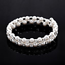 Ladies' Rhinestone Strand/Tennis Bracelet In White Pearl