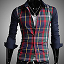 Masculino Magro Contraste Cor Confira camisa longa da luva
