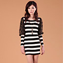 ZHI YUAN Slim Stripe Lace Lantern Sleeve Dress(More Colors)