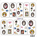 5PCS Water Transfer Printing Nail Stickers NO.1 (assorterede farver)