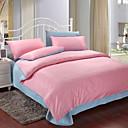 4-Piece Pink & Blue Print Cotton Duvet Cover Set