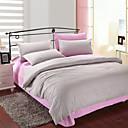 4-Piece Gray & Pink Print Cotton Duvet Cover Set