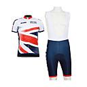 Kooplus 2013 britisk mønster 100% Polyester med korte ermer Quick Dry Mens BIB Korte Sykling Suits