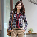 Women's Plaid Orange/Purple/Yellow Blouse/Shirt Long Sleeve