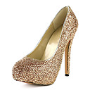 Amazing Leather Stiletto Heel Round Toe With Rhinestone Pumps Party / Evening Shoes