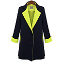 Women's Contrast Color Slit Trench Coat
