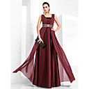 TS Couture Formal Evening / Military Ball Dress - Burgundy Plus Sizes / Petite Sheath/Column Square Floor-length Chiffon / Stretch Satin