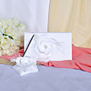 Chic Guest Book and Pen Set In White Satin With Pretty Flower Sign In Book