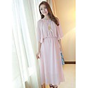 Dames chiffon ronde kraag Cape Sleeve Maxi Dress