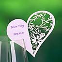 lieu cartes et les détenteurs coeur haped creuse-out carte d'endroit pour la carte de verre de vin (ensemble de 12)