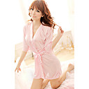 Women's Silky Pink/Black/White/Purple Half Sleeve Robes