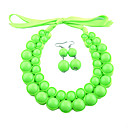 Women's Green Fluorescence Color Necklace&Earrings Set