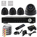 D1 4CH Ultra Real Time H.264 600TVL High Definition DVR CCTV Kit (4pcs Malam Hari CMOS Kamera Dome)