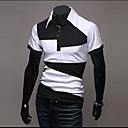 Männer Baumwolle Kurzarm Länge Geometrische Muster Entspannung Polo-Shirt (schwarz)