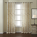 Modern Two Panels Leaf White Living Room Linen/Polyester Blend Panel Curtains Drapes