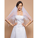 Two-tier Fingertip Wedding Veil With Beaded Edge & Pearls & Sequins