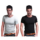LANGZUYOUDANG Men's Short Sleeve High Elastic Sports T-Shirt Elastane Cotton