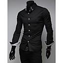 男性の縞模様の装飾が施さスリムカジュアルシャツ