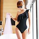Women's Solid Black One Piece Swimwear,Stylish One-Shoulder Ruffle