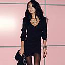 Women's Deep V Neck Pleats Asym Hem Long Sleeve Mini Dresses