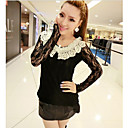 Perempuan Lace Crochet Collar Embroidery T-Shirt