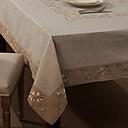 Beige Mélange Lin/Coton Rectangulaire Nappes de table