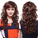 Capless høykvalitets syntetisk Chestnut Brown bølgete hår parykker