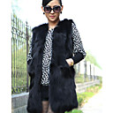 Fur Vest With Genuine Sleeveless Collarless Rabbit Fur Party/Casual Vest